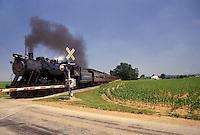 AJ4282, train, locomotive, Strasburg Rail Road Company, excursion train, Lancaster County, Amish Country, Pennsylvania, Steam locomotive pulls the passenger train through the railroad crossing in scenic Pennsylvania Dutch Country in Lancaster County in the state of Pennsylvania.