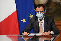 The Minister of Economic Development Stefano Patuanelli wearing a face mask during the press conference after the Minister's cabinet.<br /> Rome (Italy), October 28th 2020<br /> Photo Pool Augusto Casasoli Insidefoto