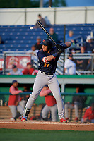 State College Spikes Dariel Gomez (34) at bat during a NY-Penn League game against the Batavia Muckdogs on August 24, 2019 at Dwyer Stadium in Batavia, New York.  State College defeated Batavia 1-0.  (Mike Janes/Four Seam Images)