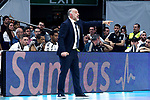 Real Madrid's coach Pablo Laso during Liga Endesa match between Real Madrid and FC Barcelona Lassa at Wizink Center in Madrid, Spain. March 24, 2019.  (ALTERPHOTOS/Alconada)