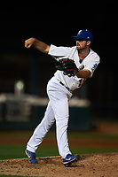 Rancho Cucamonga Quakes relief pitcher Isaac Anderson (18) follows through on his delivery during a California League game against the Lake Elsinore Storm at LoanMart Field on May 19, 2018 in Rancho Cucamonga, California. Lake Elsinore defeated Rancho Cucamonga 10-7. (Zachary Lucy/Four Seam Images)