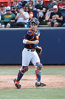 Chris Hudgins (24) of the Cal State Fullerton Titans during a game against the Wichita State Shockers at Goodwin Field on March 13, 2016 in Fullerton, California. Cal State Fullerton defeated Wichita State, 7-1. (Larry Goren/Four Seam Images)