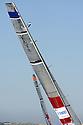 Louis Vuitton Trophy La Maddalena 6 giugno 2010. Ultime fasi della manifestazione. E' in corso la finale tra Emirates Team New Zealand e Synergy Russian Sailing Team. Dall'alto dell'albero gli strateghi osservano le condizioni sul campo di gara.