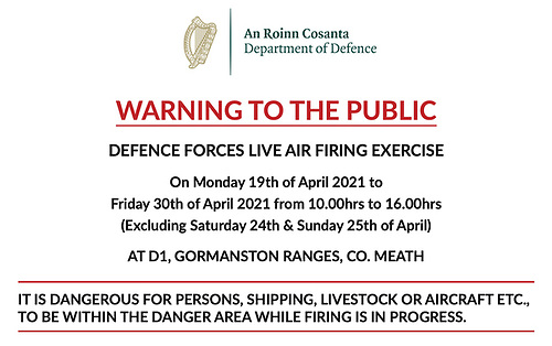Defence Forces Live Air Firing Exercise