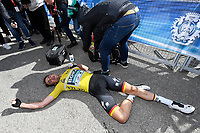 14th March 2020, Paris to Nice cycling tour, final day, stage 7;  SCHACHMANN Maximilian (GER) of BORA - HANSGROHE is exhausted after stage 7 of the 78th edition of the Paris - Nice cycling race, a stage of 166,5km with start in Nice and finish in Valdeblore La Colmiane on March 14, 2020 in Valdeblore La Colmiane, France