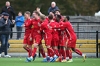 Harry Gibbs of Aveley scores the first goal for his team and celebrates with his team mates during Romford vs Aveley, Pitching In Ishmian League North Division Football at Mayesbrook Park on 26th September 2020