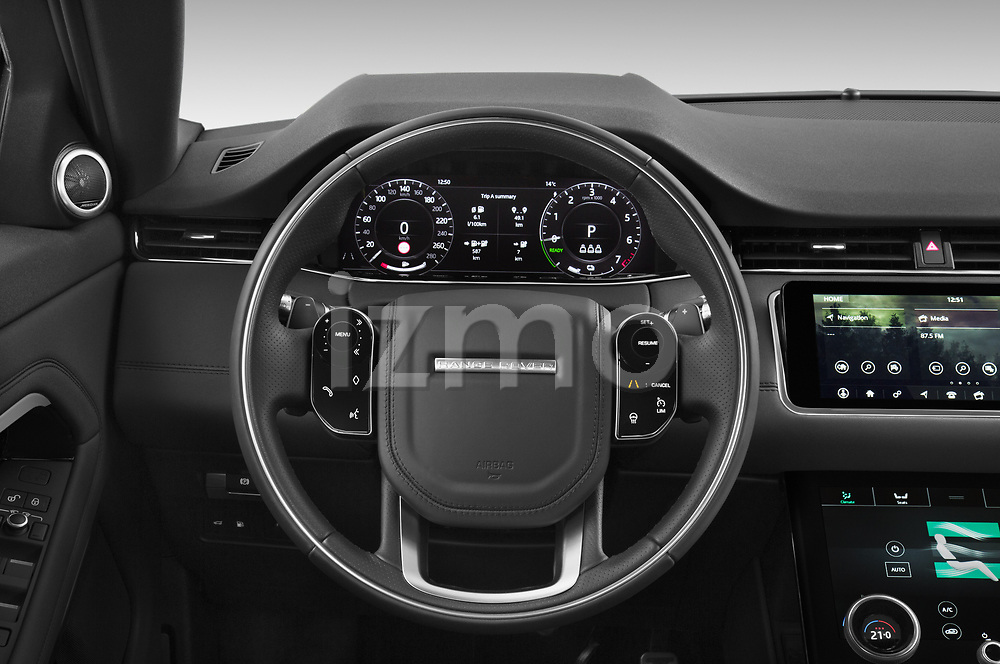 Car pictures of steering wheel view of a 2021 Land Rover Range-Rover-Evoque R-Dynamic 5 Door SUV Steering Wheel