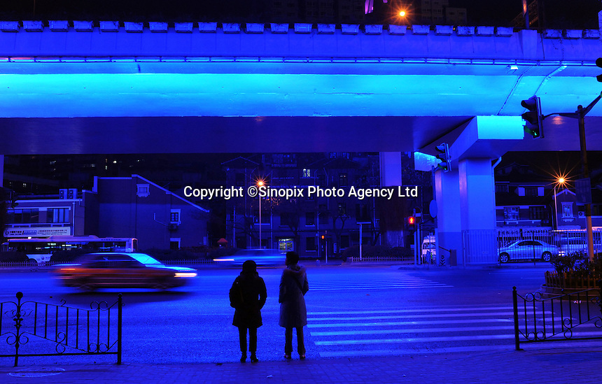 A beautifully-lit-up overpass, as an example of the lighting project for Shanghai 2010 Expo, Shanghai, China. .