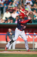Peoria Chiefs outfielder Vaughn Bryan (25) at bat during a game against the Lansing Lugnuts on June 6, 2015 at Cooley Law School Stadium in Lansing, Michigan.  Lansing defeated Peoria 6-2.  (Mike Janes/Four Seam Images)