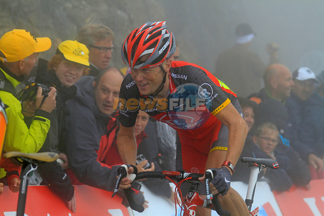 Chris Horner (USA) Team Radioshack approaches the summit finish of the Col du Tourmalet during a wet foggy Stage 17 of the 2010 Tour de France running 174km from Pau to Col du Tourmalet, France. 22nd July 2010.<br /> (Photo by Eoin Clarke/NEWSFILE).<br /> All photos usage must carry mandatory copyright credit (© NEWSFILE | Eoin Clarke)