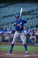 Kansas City Royals outfielder Khalil Lee (15) at bat during an Instructional League game against the Arizona Diamondbacks at Chase Field on October 14, 2017 in Scottsdale, Arizona. (Zachary Lucy/Four Seam Images)