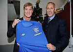 Mark Hateley and Richard Gough with the strip for Saurday's 140th year anniversary match