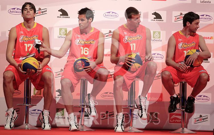 Spain's basket national team Carlos Suarez, Fernando San Emeterio, Fran Vazquez and Sergi Llull during presentation for world championships. July 21, 2010. (ALTERPHOTOS/Alvaro Hernandez)