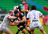 20th March 2021; Twickenham Stoop, London, England; English Premiership Rugby, Harlequins versus Gloucester; Harlequins, Gloucester; Dino Lamb of Harlequins driving through and over the gain line
