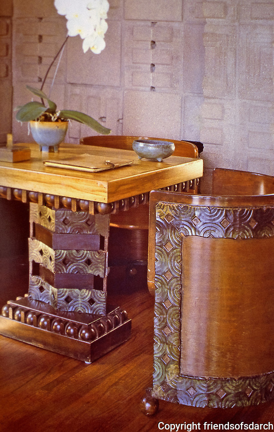 Frank Lloyd Wright: John Storer House, Hollywood, 1923. Interior  detail of table and chairs.  Photo April 2000.