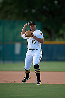 GCL Pirates third baseman Emilson Rosado (10) throws to first base during a Gulf Coast League game against the GCL Twins on August 6, 2019 at Pirate City in Bradenton, Florida.  GCL Twins defeated the GCL Pirates 4-2 in the first game of a doubleheader.  (Mike Janes/Four Seam Images)