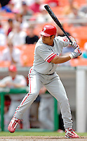 11 June 2006: Bobby Abreu, outfielder for the Philadelphia Phillies, at bat during a game against the Washington Nationals at RFK Stadium, in Washington, DC. The Nationals shut out the visiting Phillies 6-0 to take the series three games to one...Mandatory Photo Credit: Ed Wolfstein Photo..