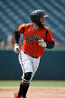 Bowie Baysox Brett Cumberland (28) runs to first base during an Eastern League game against the Binghamton Rumble Ponies on August 21, 2019 at Prince George's Stadium in Bowie, Maryland.  Bowie defeated Binghamton 7-6 in ten innings.  (Mike Janes/Four Seam Images)