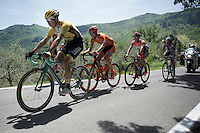 Bert-Jan Lindeman (NLD/LottoNL-Jumbo) and fellow breakaway leaders lead the peloton by more than 8 minutes on the (non-registered) climb of the day<br /> <br /> 2015 Giro<br /> stage 2: Albenga - Genova (177km)