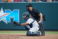 Pulaski Yankees catcher Carlos Narvaez (48) sets a target as home plate umpire Colin Baron looks on during the game against the Princeton Rays at Calfee Park on July 14, 2018 in Pulaski, Virginia. The Rays defeated the Yankees 13-1.  (Brian Westerholt/Four Seam Images)