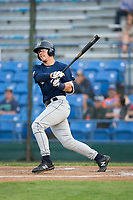Tristen Lutz (23) of the Helena Brewers follows through on his swing against the Great Falls Voyagers at Centene Stadium on August 19, 2017 in Helena, Montana.  The Voyagers defeated the Brewers 8-7.  (Brian Westerholt/Four Seam Images)