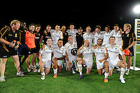 20130801 Copyright onEdition 2013 ©<br /> Free for editorial use image, please credit: onEdition.<br /> <br /> Worcester Warriors 7s celebrate winning Pool A of the J.P. Morgan Asset Management Premiership Rugby 7s Series.<br /> <br /> The J.P. Morgan Asset Management Premiership Rugby 7s Series kicks off for the fourth season on Thursday 1st August with Pool A at Kingsholm, Gloucester with Pool B being played at Franklin's Gardens, Northampton on Friday 2nd August, Pool C at Allianz Park, Saracens home ground, on Saturday 3rd August and the Final being played at The Recreation Ground, Bath on Friday 9th August. The innovative tournament, which involves all 12 Premiership Rugby clubs, offers a fantastic platform for some of the country's finest young athletes to be exposed to the excitement, pressures and skills required to compete at an elite level.<br /> <br /> The 12 Premiership Rugby clubs are divided into three groups for the tournament, with the winner and runner up of each regional event going through to the Final. There are six games each evening, with each match consisting of two 7 minute halves with a 2 minute break at half time.<br /> <br /> For additional images please go to: http://www.w-w-i.com/jp_morgan_premiership_sevens/<br /> <br /> For press contacts contact: Beth Begg at brandRapport on D: +44 (0)20 7932 5813 M: +44 (0)7900 88231 E: BBegg@brand-rapport.com<br /> <br /> If you require a higher resolution image or you have any other onEdition photographic enquiries, please contact onEdition on 0845 900 2 900 or email info@onEdition.com<br /> This image is copyright the onEdition 2013©.<br /> <br /> This image has been supplied by onEdition and must be credited onEdition. The author is asserting his full Moral rights in relation to the publication of this image. Rights for onward transmission of any image or file is not granted or implied. Changing or deleting Copyright information is illegal as specified in the Copyright, Design and Patents Act 1988. If you are in any way unsure of your right to publish this image please contact onEdition o