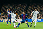 Lionel Andres Messi (C) of FC Barcelona is tackled by N'Golo Kante (L) and Cesc Fabregas of Chelsea FC during the UEFA Champions League 2017-18 Round of 16 (2nd leg) match between FC Barcelona and Chelsea FC at Camp Nou on 14 March 2018 in Barcelona, Spain. Photo by Vicens Gimenez / Power Sport Images