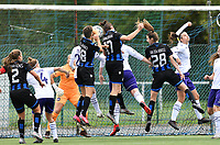Frieke Temmerman (17 Brugge) pictured scoring a goal with a header during a female soccer game between Club Brugge Dames YLA and RSC Anderlecht Ladies on the fifth matchday of the 2020 - 2021 season of Belgian Scooore Womens Super League , sunday 18 October 2020  in Brugge , Belgium . PHOTO SPORTPIX.BE | SPP | DAVID CATRY