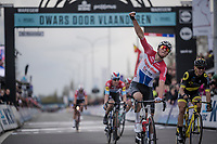 Mathieu Van Der Poel (NED/Correndon-Circus) wins his (only) 2nd World Tour race ever; the 74th Dwars door Vlaanderen 2019 (1.UWT) ahead of Anthony Turgis (FRA/Direct Energie).<br /> <br /> One day race from Roeselare to Waregem (BEL/183km)<br /> <br /> ©kramon