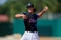 Evan Vasiliou (45) during the WWBA World Championship at Terry Park on October 11, 2020 in Fort Myers, Florida.  Evan Vasiliou, a resident of El Cajon, California who attends Grossmont High School, is committed to UC Irvine.  (Mike Janes/Four Seam Images)