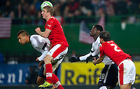 VIENNA, Austria - November 19, 2013: John Anthony Brooks and Eddie Johnson and Austria's Martin Hinteregger and Gyorgy Garics during a 0-1 loss to host Austria during the international friendly match between Austria and the USA at Ernst-Happel-Stadium.