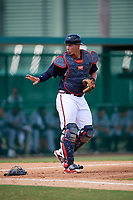 Atlanta Braves catcher Abrahan Gutierrez (46) during an Instructional League game against the Detroit Tigers on October 10, 2017 at the ESPN Wide World of Sports Complex in Orlando, Florida.  (Mike Janes/Four Seam Images)