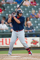Oklahoma City RedHawks designated hitter Japhet Amador (48) at bat against the Round Rock Express during the Pacific Coast League baseball game on August 25, 2013 at the Dell Diamond in Round Rock, Texas. Round Rock defeated Oklahoma City 9-2. (Andrew Woolley/Four Seam Images)