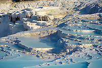 Pictures & Image  of Pamukkale Travetine Terrace, Turkey. Images of the white Calcium carbonate rock formations. Buy as stock photos or as photo art prints. 3 Pamukkale travetine terrace water cascades, composed of white Calcium carbonate rock formations, Pamukkale, Anatolia, Turkey