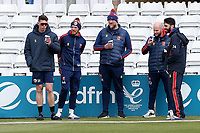 Essex players and coaching staff look on from the boundary during Essex CCC vs Worcestershire CCC, LV Insurance County Championship Group 1 Cricket at The Cloudfm County Ground on 9th April 2021