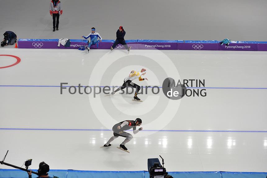 OLYMPIC GAMES: PYEONGCHANG: 19-02-2018, Gangneung Oval, Long Track, 500m Men, Mathias Vosté (BEL), Joel Dufter (GER), ©photo Martin de Jong