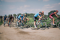 "Wout Van Aert (BEL/Veranda's Willems-Crelan) in the peloton conquering the gravel sectors<br /> <br /> Antwerp Port Epic 2018 (formerly ""Schaal Sels"")<br /> One Day Race:  Antwerp > Antwerp (207 km; of which 32km are cobbles & 30km is gravel/off-road!)"
