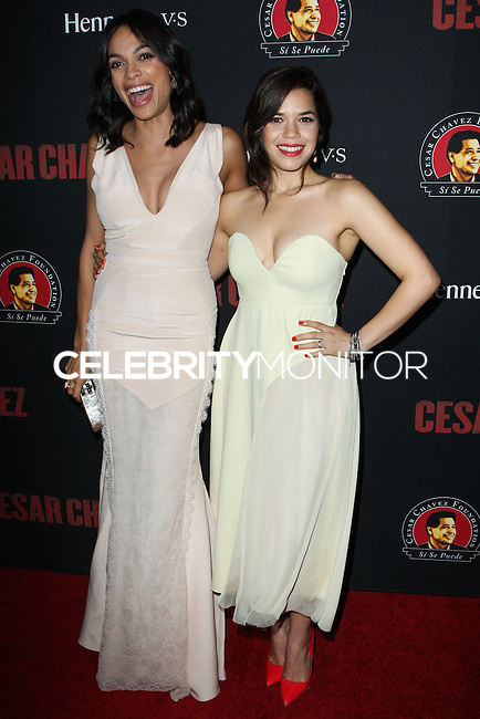 """HOLLYWOOD, LOS ANGELES, CA, USA - MARCH 20: Rosario Dawson, America Ferrera at the Los Angeles Premiere Of Pantelion Films And Participant Media's """"Cesar Chavez"""" held at TCL Chinese Theatre on March 20, 2014 in Hollywood, Los Angeles, California, United States. (Photo by Celebrity Monitor)"""