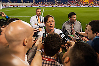 United States (USA) forward Abby Wambach (20) is interviewed after the match. The women's national team of the United States defeated the Korea Republic 5-0 during an international friendly at Red Bull Arena in Harrison, NJ, on June 20, 2013.