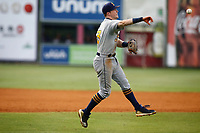 Montgomery Biscuits third baseman Jake Cronenworth (3) fields a ball and throws to first base in the game against the Chattanooga Lookouts on May 25, 2018 at AT&T Field in Chattanooga, Tennessee. (Andy Mitchell/Four Seam Images)