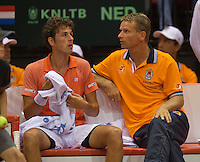 13-sept.-2013,Netherlands, Groningen,  Martini Plaza, Tennis, DavisCup Netherlands-Austria, First Rubber,   Robin Haase (NED) on the bench with captain Jan Semerink<br /> Photo: Henk Koster