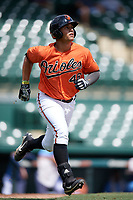 Baltimore Orioles Juan Escarra (46) jogs to first keeping his eye on a home run ball during an Instructional League game against the Tampa Bay Rays on October 2, 2017 at Ed Smith Stadium in Sarasota, Florida.  (Mike Janes/Four Seam Images)