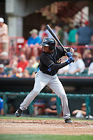 Akron RubberDucks center fielder Greg Allen (4) at bat during a game against the Erie SeaWolves on August 27, 2017 at UPMC Park in Erie, Pennsylvania.  Akron defeated Erie 6-4.  (Mike Janes/Four Seam Images)