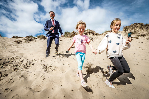 Pictured at the launch of the Dublin Bay Biosphere Award was Minister for Children, Equality, Disability, Integration and Youth, Roderick O'Gorman helped by Olivia Eaton (age 8) and her sister Sadbh (age 5) on Portmarnock Beach. This new three part programme was developed by Scouting Ireland and the Dublin Bay Biosphere Partnership.