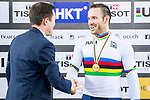 Francois Pervis of France celebrates winning in the Men's Kilometre TT's prize ceremony during the 2017 UCI Track Cycling World Championships on 16 April 2017, in Hong Kong Velodrome, Hong Kong, China. Photo by Marcio Rodrigo Machado / Power Sport Images