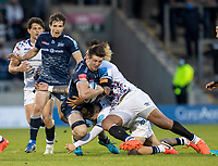 28th May 2021; AJ Bell Stadium, Salford, Lancashire, England; English Premiership Rugby, Sale Sharks versus Bristol Bears; Tom Curry of Sale Sharks is tackled by Nathan Hughes of Bristol Bears
