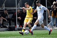 Luis Toomey of the Wellington Phoenix competes for the ball with Alex Palezevic of Team Wellington during the SPS Handa Men's Premiership - Wellington Phoenix v Team Wellington at Fraser Park, Wellington on Saturday 14 November 2020.<br /> Copyright photo: Masanori Udagawa /  www.photosport.nz