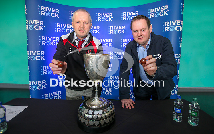 Monday 25th February 2019 | Towns Cup 2019<br /> <br /> Making the draw are Paul Whitten representing the Ulster Brance and Cathal Garvey representing the sponsors River Rock at the River Rock Ulster Towns Cup Semi-Final draw which was held at Kingspan Stadium today. Photo by John Dickson / DICKSONDIGITAL<br /> <br /> Ballyclare RFC will play Armagh RFC<br /> Clogher Valley RFC will play Enniskillen RFC