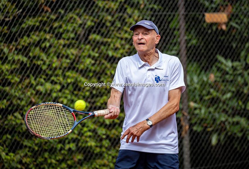 Hilversum, The Netherlands,  August 18, 2020,  Tulip Tennis Center, NKS, National Senior Championships, Men's single 80+ ,  Theo de Waal (NED) <br /> Photo: www.tennisimages.com/Henk Koster