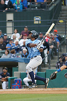 Wilmington Blue Rocks outfielder Elier Hernander (15) at bat during a game against the Myrtle Beach Pelicans at Ticketreturn Field at Pelicans Ballpark on April 25, 2017 in Myrtle Beach, South Carolina. Myrtle Beach defeated Wilmington 7-6. (Robert Gurganus/Four Seam Images)
